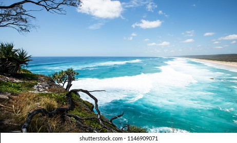 Gorgeous Ocean View at Point Lookout looking towards main beach during a king tide in Summer.  North Stradbroke Island, Queensland, 2018