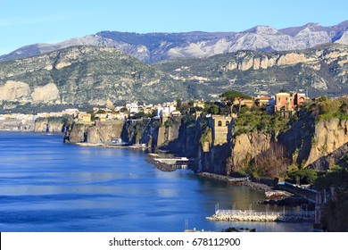 Gorgeous panorama with cliffs and the blue sea in Sorrento, Amalfi coast, Italy.