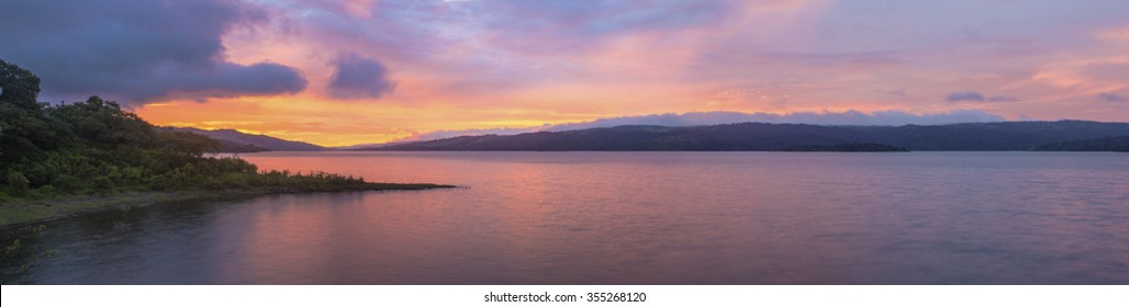 A gorgeous panoramic view of Lake Arenal, Costa Rica during sunset