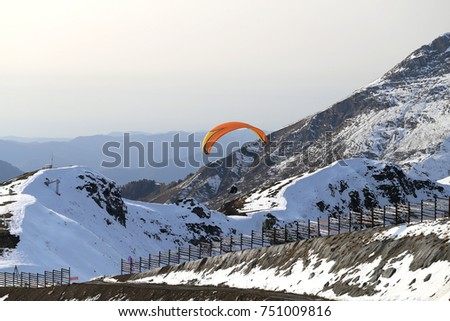 Gorgeous photos of snow-covered mountains sunny bright day at altitude