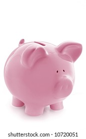Gorgeous pink piggy bank, isolated on white with soft shadow.