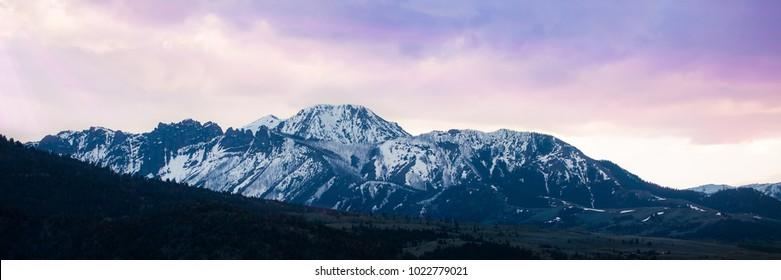 Gorgeous Purple Sky on a Panoramic Shot of a Mountain Range near Bozeman, Montana