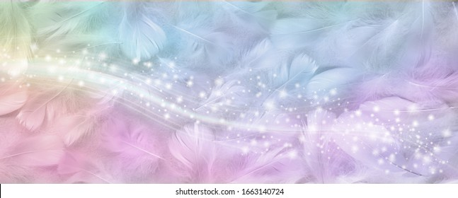 Gorgeous rainbow coloured feather sparkle banner - wide background with random scattered small white bird feathers coloured with rainbow hues and a band of sparkles cascading across