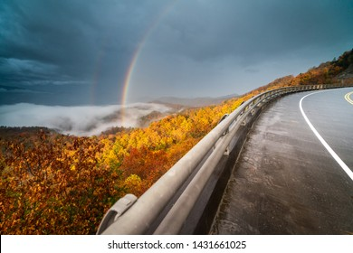 Gorgeous rainbow on an autumn day along the Foothills Parkway in Wears Valley in the Great Smoky Mountain National Park.
