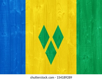 gorgeous Saint Vincent and the Grenadines flag painted on a wood plank texture