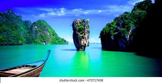 Gorgeous scene in Tapu island.The beach and fishing boats.James Bond Island Phangnga Thailand.