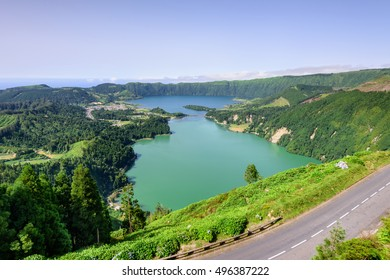 Gorgeous Seven Cities Lagoons in Azores. Sao Miguel island beautiful volcanic landscape. A legend says the bigger blue lagoon and smaller green one are from the tears of a shepherd & princess sad love