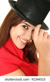 Gorgeous smiling brunette woman wearing a black hat