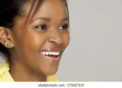 Gorgeous South African woman, closeup with a smile