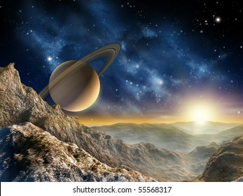 Gorgeous spacescape as seen from one of Saturn moon. Digital illustration.