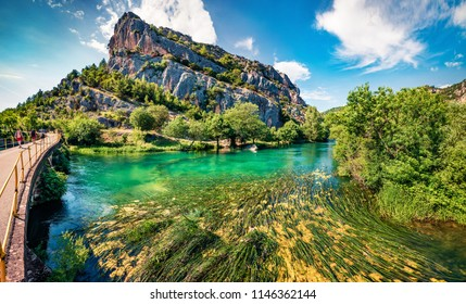 Gorgeous summer view of Krka National Park, Roski Slap location, Croatia, Europe. Beautiful world of Mediterranean countries. Traveling concept background.