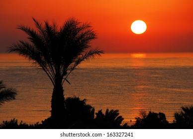 gorgeous  sunrise over sea and orange sky in Tunisia