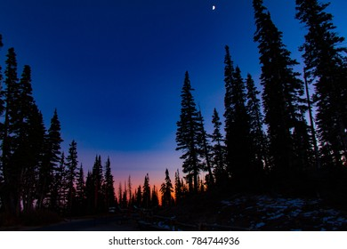 Gorgeous sunset into night sky with moon at Cedar Breaks National Monument in Utah in the winter.