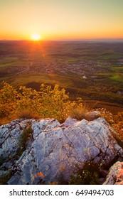 Gorgeous sunset on mountain top