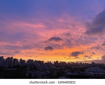 gorgeous sunset over skyline view
