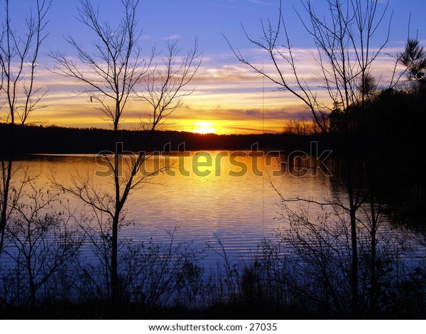 A gorgeous sunset scene by Lake Wheeler, Raleigh, NC
