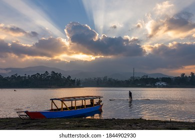 Gorgeous sunset sky and scenery at Situ Cileunca. Situ Cileunca is a lake located in Pangalengan, West Java, Indonesia