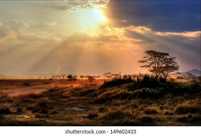 gorgeous sunset with sunbeams at a national park in Africa