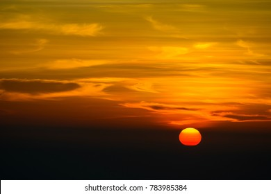 A gorgeous sunset with warm rich colors taken from Kasauli, Garhwal Mountain Range, India