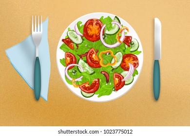 Gorgeous vegetable salad of fresh summer vegetables
