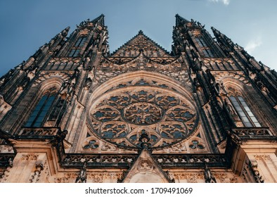 Gorgeous view of Gothic capel  cathedral , Monument of German Roman  Catholicism Neogothic architecture .the Catholic St. Vitus, Wenceslas and Adalbert in Prague. Aerial panoramic drone sky  view
