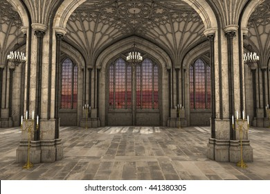 Awesome Gorgeous View Of Gothic Cathedral Interior 3d CG Illustration
