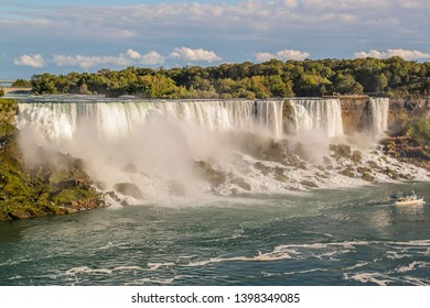 Gorgeous view of Niagara Falls landscape.Waves rumbling against the rocky shore. Beautiful nature backgrounds.