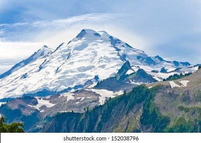 Gorgeous view, outlook at the Mount Baker lands and wilderness. North America.