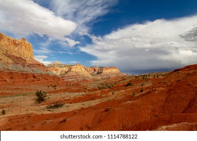 Gorgeous view of the rock layers and formations of Navajo Sandstone in Capitol Reef National Park in Utah, USA.