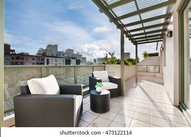 with a gorgeous view of the spacious terrace