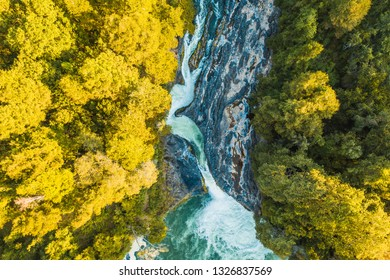 Gorgeous view of a waterfall from the air