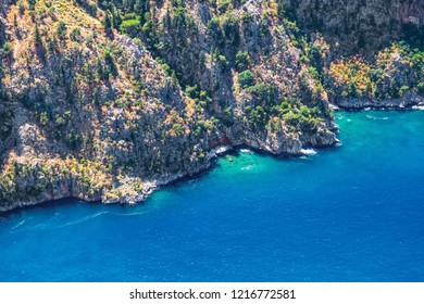 """Gorgeous views of the Oludeniz from the high rocks of the valley of butterflies. Butterfly Valley is one of the """"must visit"""" places near Oludeniz. Fethiye-Mugla"""