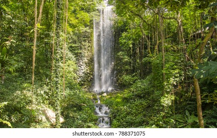 Gorgeous waterfall in lush paradise