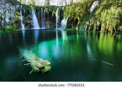 Gorgeous waterfall in Plitvice Lake National Park, Croatia.