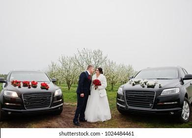 Gorgeous wedding couple posing between two luxurious black wedding SUVs.