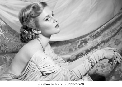 Gorgeous Woman in 1940s Style Photograph