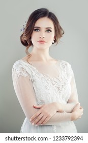Gorgeous woman bride with makeup and updo hair, fashion portrait