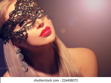 gorgeous woman in carnival mask