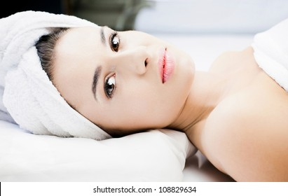 Gorgeous woman at spa