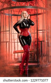 gorgeous young blonde woman wearing latex rubber catsuit and posing as a sexual kinky fantasy near the huge cage alone