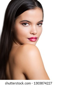 Gorgeous young brunette woman in makeup with ombre lipstick.