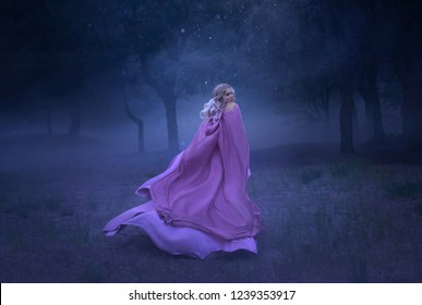 a gorgeous young elf princess with blond hair that flees in a forest full of white mist, dressed in a long, expensive, flying and fluttering purple dress, a photo of a beautiful woman in the moonlight