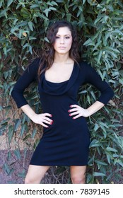 Gorgeous young woman in little black dress