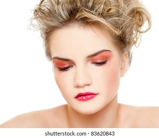 Gorgeous young woman wearing colorful makeup