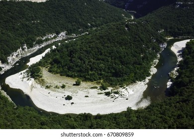 The Gorges de Ardeche is made up of a series of curve and canyon in the river Ardeche, France.