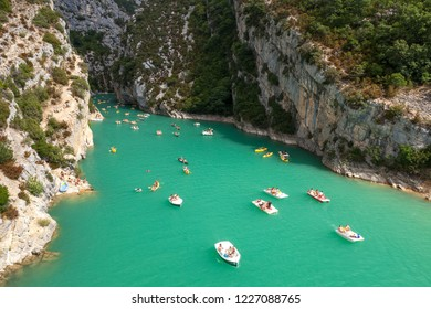 GORGES DU VERDON, FRANCE - JULY 22, 2012: Summer boating on river Verdon as it enters to Lake of Sainte-Croix, Alpes-de-Haute-Provence, Provence, France.