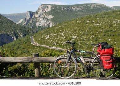 Gorges du Verdon (Provence - Alpes - Cote d'Azur, France) - The canyon and a bicycle