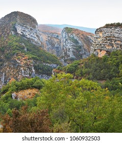 Gorges Du Verdon valley and rock formations in brilliant autumnal  colours, Provence, France.