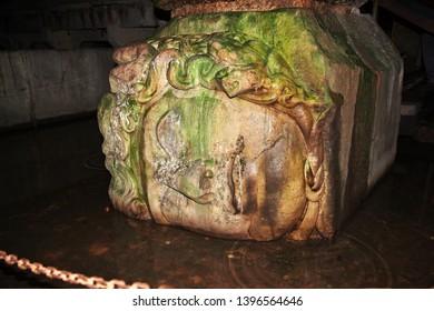 Gorgon in Basilica cistern in Istanbul, Turkey