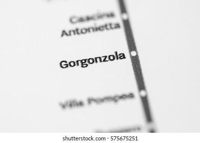 Gorgonzola Station. Milan Metro map.